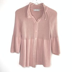[Zara] dusty rose chunky knit cardigan #P17